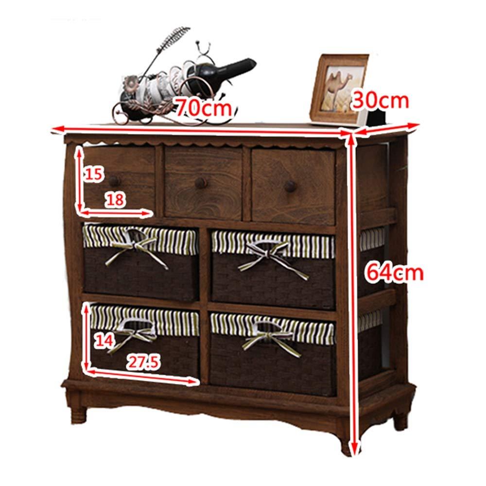WANGYONG Madera sólida del gabinete del cajón de la Vendimia, Rattan Americana Simple Almacenamiento Gabinete de Almacenamiento de Dormitorio Mesita de luz 70x30x64cm Antiguo Acabado cajón CTGUI: Amazon.es: Hogar