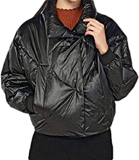 Womens Lapel Long Sleeve Zipper Button Warm Overcoats Short Down Outwear