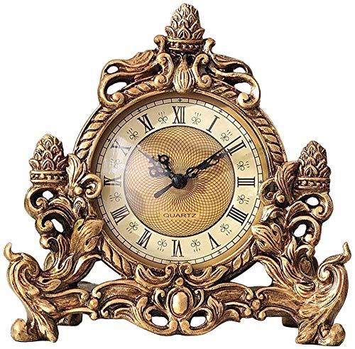 WSXEDC Retro Creativo de Escritorio Decoración-Vino del Reloj del gabinete Decoración por la Ventana Crafts Inicio Accesorios de Reloj de época, (Color: Oro) Reloj de Escritorio