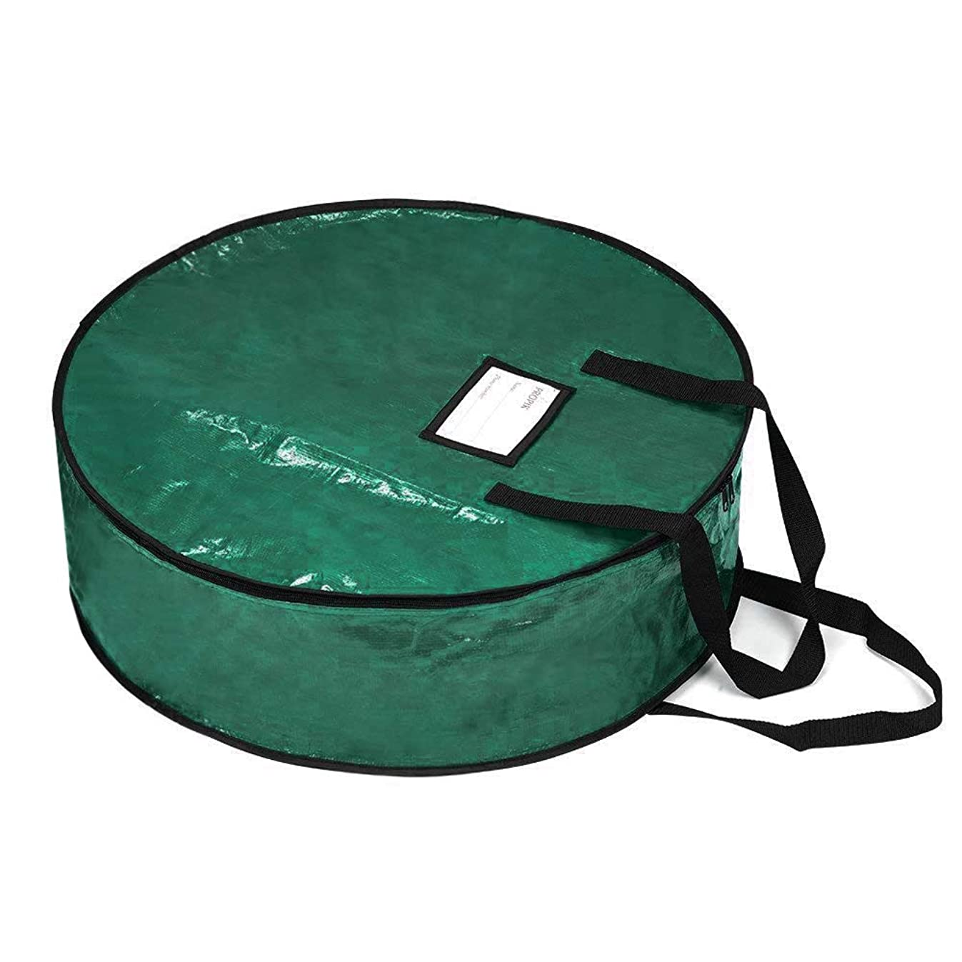 """ProPik Wreath Storage Bag Polyester Tear Resistant Fabric for Holiday Easy Storage Featuring Heavy Duty Handel's and Transparent Card Slot 36"""" X 36"""" X 8"""" (Green)"""
