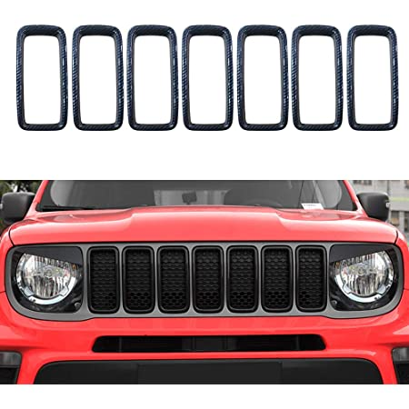 QQKLP ABS BLACK UNPAINT CAR FRONT BUMPER RACING GRILLS GRILLE ROUND TRIM COVER FIT FOR Jeep Renegade 2016 2017 2018 2019