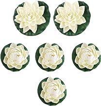 UEETEK 6pcs Artificial Lifelike Foam Pond Plants Lotus