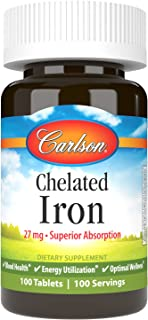 Carlson - Chelated Iron, 27 mg Superior Absorption, Blood Health, Energy Utilization & Optimal Wellness, 100 Tablets