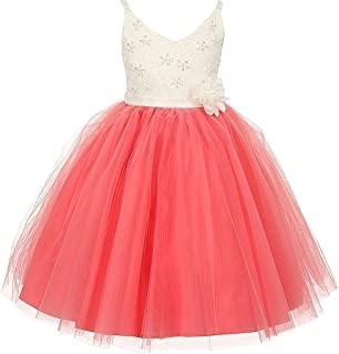 Two Tone V Neck Beaded Lace Top Easter Princess Flowers Girls Dresses