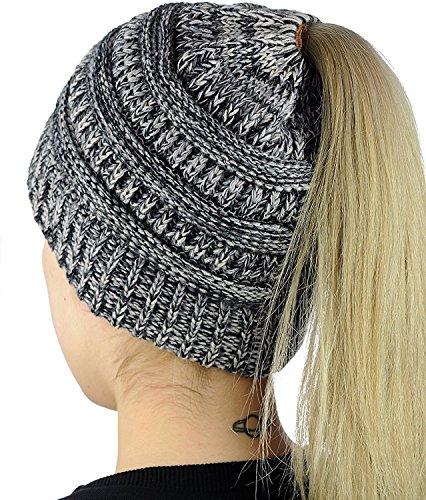 Muryobao Slouchy Cable Knit Beanie Women Crochet Ponytail Messy High Bun Beanie Trendy Warm Chunky Soft Stretch Cable Knit Beanie Skully(One size Grey)