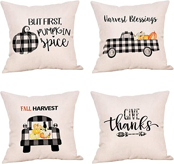 Jartinle 4 Pack Black And White Buffalo Plaids Fall Pillow Covers Pumpkin Patch Truck Autumn Harvest Blessings Halloween Thanksgiving Decorative Farmhouse Throw Pillow Cover Cotton Linen 18x18 Inch