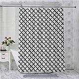 Cortinas de ducha, diseño minimalista inspirado en la geometría matemática, con pinceladas como arte impreso, 96 pulgadas de largo, impermeable, decoración de baño, gris carbón, blanco