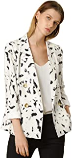 Women's Abstract Floral Print Notched Lapel Double Breasted Office Blazer Jacket