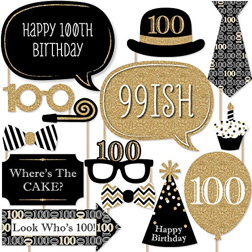Big Dot of Happiness Adult 100th Birthday - Gold - Photo Booth Props Kit - 20 Count