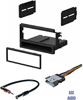 ASC Car Stereo Install Dash Kit, Wire Harness, and Antenna Adapter for installing an Aftermarket Single Din Radio for 2003 2004 2005 2006 Kia Sorento EX Vehicles,