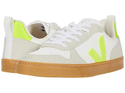 VEJA Kids Small V-10 Laces (Big Kid) (White/Jaune Fluo) Kid