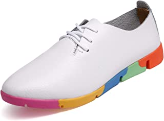 Dormery Size 35-43 Spring Trendy White Flats Shoes Breathable Women Shoes Casual Pointed Lace up Leather Shoes Rainbow Soles