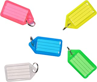 Uniclife 20 PCS Key ID Label Tags Color Keyring Holder Tags with Label Window, Assorted Colors