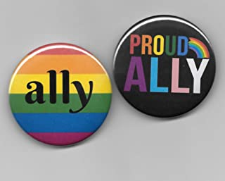 Gay Pride Ally Pin Back Buttons Set of 2, 2-1/4