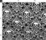 Spoonflower Stoff – Totenkopf Damast Knochen Skelett