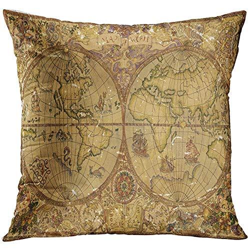 Funda de almohada Vintage con mapa del Atlas mundial en pergamino antiguo Pirate Adventures Treasure Hunt and Old Transportation Funda de almohada decorativa Decoración del hogar Funda de almohada cua