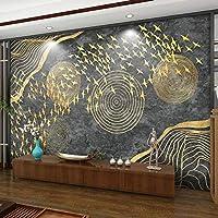 3D壁画壁紙レリーフゴールデンフライングバード新しい中国風の書斎リビングルームソファテレビ背景壁画-400x280cm