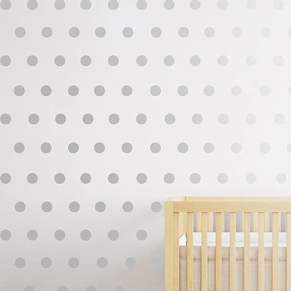 DCTOP 银墙贴花点 108 贴花易于剥离贴花圆点墙贴花墙上安全油漆可拆卸金属乙烯基圆点装饰圆形儿童房间墙贴金属银
