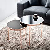 cagü: Design 2er Set Beistelltische [SATURNUS] Schwarz Glasplatte mit Kupfergestell 51cm/45cm Höhe Art Deco