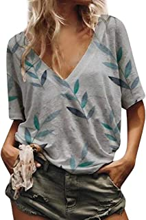 Women's Loose Casual Shirt, Sharemen Printed V-Neck Short-Sleeved Shirt Summer T-Shirt