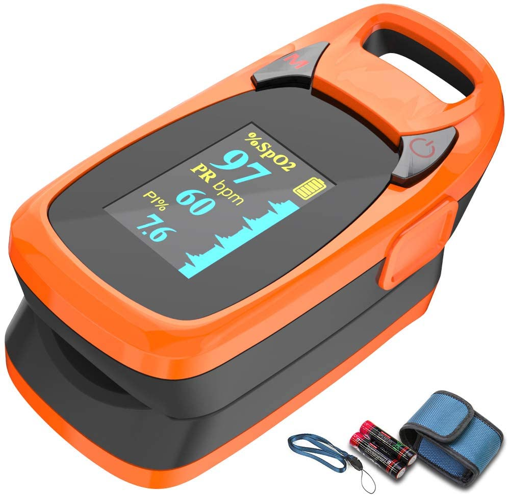 Fingertip Pulse Oximeter with Plethysmograph and Perfusion Index, Include Carrying case, Large OLED Digital Display Blood Oxygen Saturation Monitor Heart Rate Monitor (Color: Red-Orange) : Health & Household