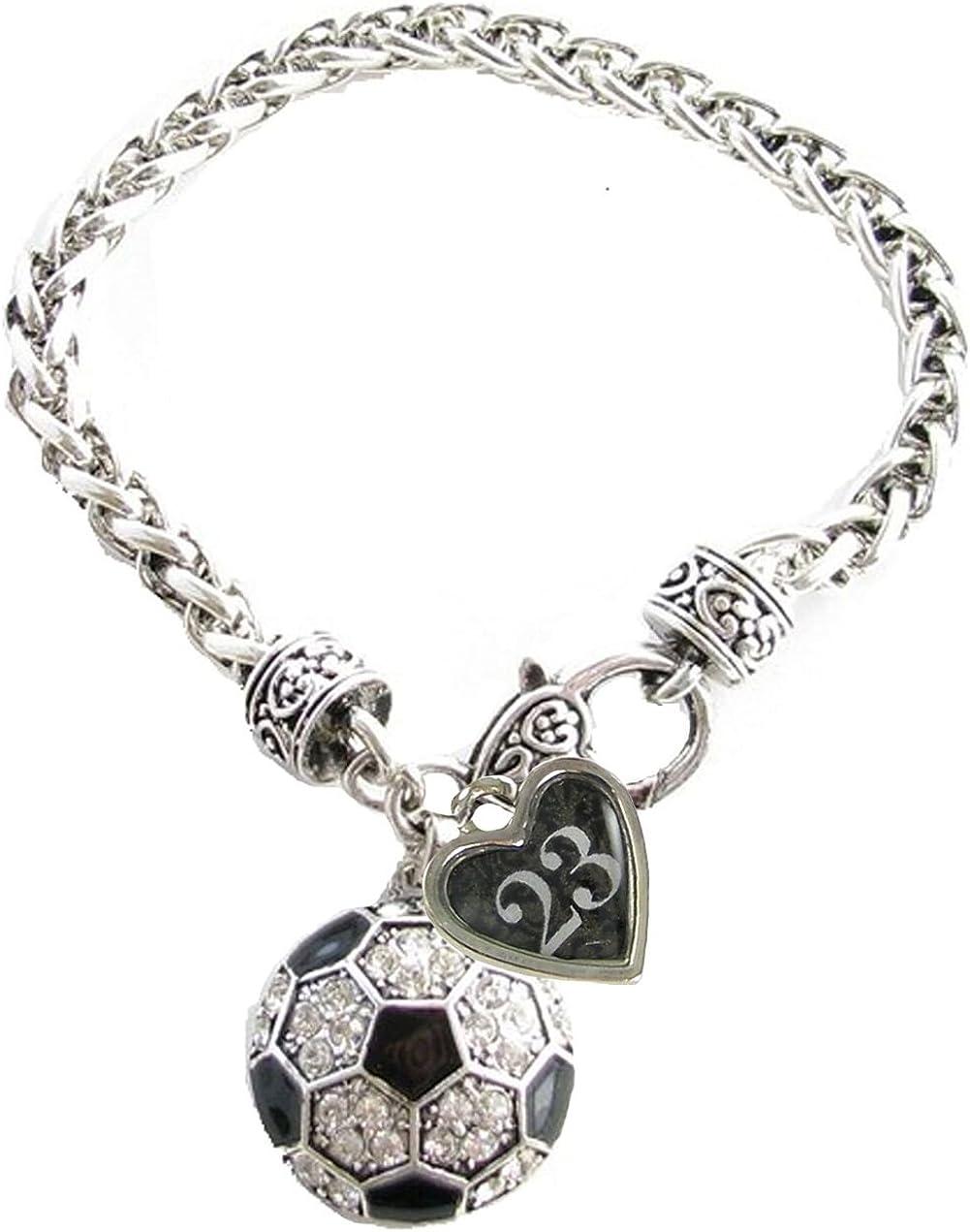 Custom Soccer Ball Crystal Claw Bracelet Jewelry Jersey Numbers