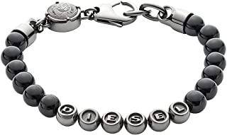 Diesel Black Beaded Bracelet Logo Bracelet DX0950060, with Gift Box