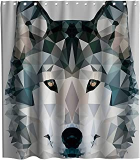 Final Friday Wolf Wildlife Geometry Theme Fabric Shower Curtain Sets Bathroom Decor with Hooks Waterproof Washable 70 x 70 inches Black and Grey