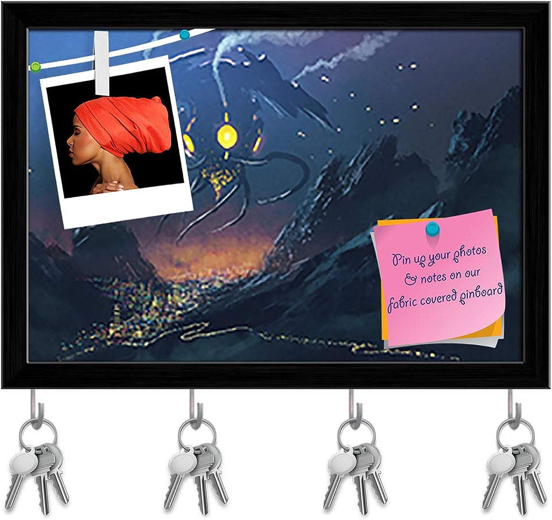Artzfolio Alien Ship Invading Night City Key Holder Hooks   Notice Pin Board   Black Frame 17.3 X 12Inch