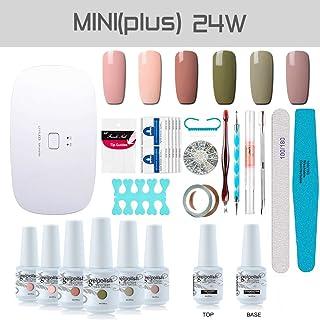 Gel Nail Polish Starter Kit, with 24W SunMini Plus UV LED Nail Dryer Manicure Tools, 6 Classic Gel polish Set Top and Base Coat, Portable Kit for Travel by Vishine #C001