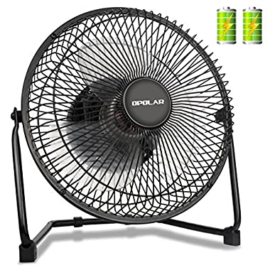 OPOLAR Battery Operated Rechargeable Fan, Battery Powered USB Desk Fan with 9 Inch Metal Frame, 5200 mAh Capacity, Strong Airflow, Lower Noise, Personal Fan for Home & Office & Camping & Hurricane
