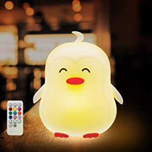 Bogasier Kids Night Light, Cute Remote Control Penguin LED Nursery Light, Multi-Color USB Rechargeable Silicon Night Lamp for Baby, Toddler, Children, Bedroom Decor Birthday Christmas Gifts