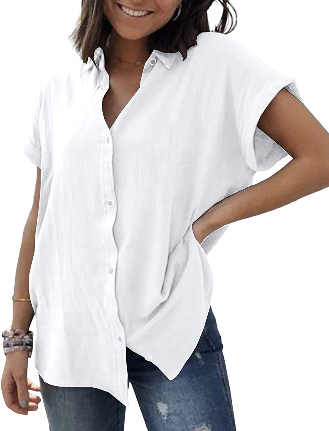 Womens Button Down V Neck Shirts Roll Up Short Sleeve Blouse Loose Fit Casual Work Plain Tops with Pockets