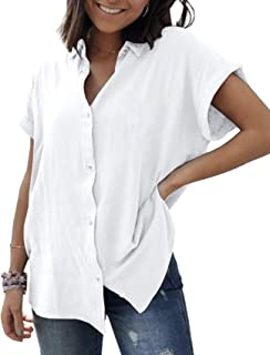Womens Button Down Shirts Short Sleeve Linen Cotton Blouse V Neck Basic Simple Work Shirt Plain Tops