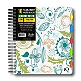 iScholar IQ Poly Cover 10 Subject Notebook, Double Wired, 11 x 8.5 Inches, 250 Sheets, Assorted Bright Cover Designs, Design Will Vary (58911)