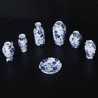 SODIAL (R) 1/12 miniaturas de casa de munecas de ceramica florero de porcelana china azul vid -7 Piezas