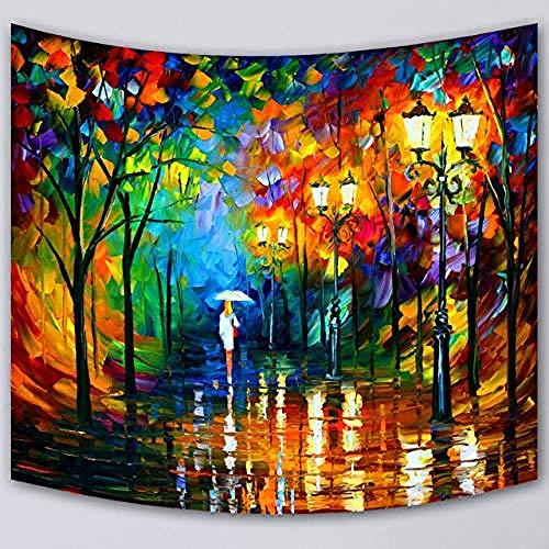 QIAO Bunte Wandbehang Wandteppich Frau Silhouette mit Licht Regen Regenschirm in der Forest Street Lampe Aquarell ?lgem?lde Wandteppich f¨¹r Wohnkultur 200x150cm