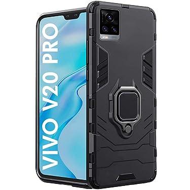 TheGiftKart Tough Armor Bumper Back Case Cover for Vivo V20 PRO   Ring Holder & Kickstand in-Built   Excellent 360 Degree Protection (Carbon Black)
