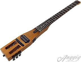 Guitarra eléctrica de Viaje portátil de edición Mejorada Anygig 010~046 con Cable de Salida de Audio Negro Mate con Bolsa de Transporte