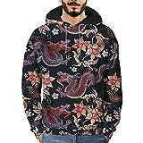 Sweat à Capuche Homme Printemps Automne Hiver Sweat-Shirt Manteau Veste Couleur Arc-en-Ciel Kangourou Poches 3D Imprimé avec Chapeau (Noir, M)