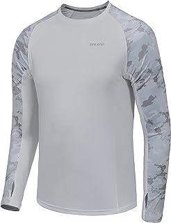 BALEAF Men's UPF 50+ Shirts Sun Protection Long Sleeve with Zipper Pocket Breathable Hiking Shirts Thumb Hole