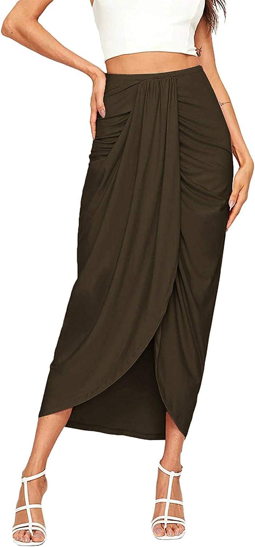Thyone Women's Slit Wrap Asymmetrical Elastic High Waist Maxi Skirt Casual Summer Solid Skirt