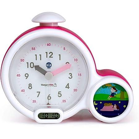 Réveil Enfant Educatif - Jour/Nuit - Lumineux - Affichage Digital - 3 Alarmes au choix - Mixte : Fille et Garcon - Secteur ou à Piles - Clock - Rose - Pabobo x Kid Sleep