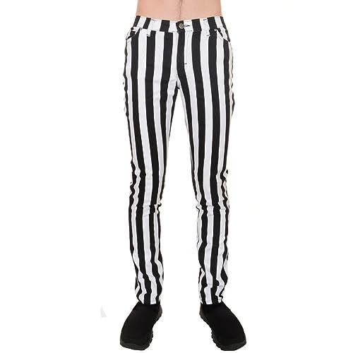 5b5928a4e3fdec Run & Fly Mens Indie Vintage Retro 60s 70s Mod Black White Striped Stretch  Skinny Jeans