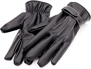 Men's Winter Warm Gloves Touchscreen Texting Leather Outdoor Driving Gloves with Cashmere Lining