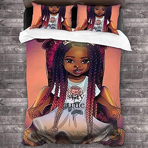 HUA JIE Juego de sábanas para niña Negra con Funda nórdica de Corona, Juego de 3 Piezas, Suave y Lujoso (Funda nórdica + 2 Fundas de Almohada)