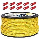 テントロープ パラコード タープロープ ガイロープ 反射 ガイライン 自在金具付き 50m アルミ自在金具 ボビン巻 キャンプ ロープ 4mm/5mm 耐久性 (イエロー(直径5mm))