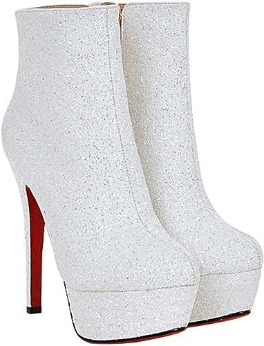 ZHRUI Bottes Femme Les Chaussures De Nuit des Chaussures De Hauteur des Chaussures (Couleuré   Blanc, Taille   37EU)