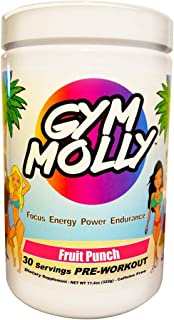 Gym Molly Caffeine Free Pre Workout Powder Energy Drink Supplement | BCAAs | 0 Carbs | for Men & Women, Fruit Punch (30 Se...