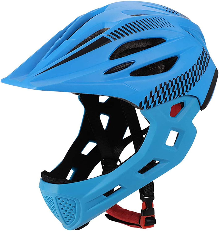 Bike Helmet Kid Full Covered Face Predection Detachable Suitable for Balance Bike Cycling Motocross MTV BMX Breathable Safety Multicolor,blueeeblack